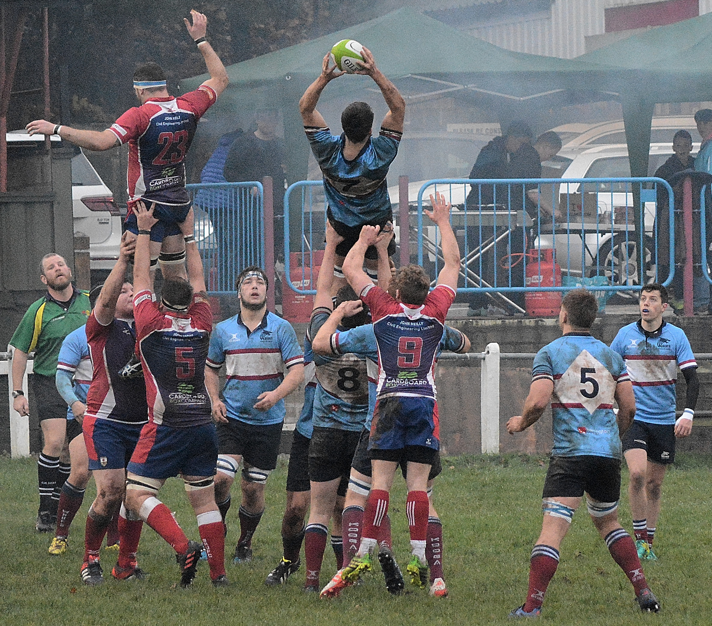Wilmslow Wolves' Adam Hewitt takes lineout ball against Blackburn. Picture: Nick Jones