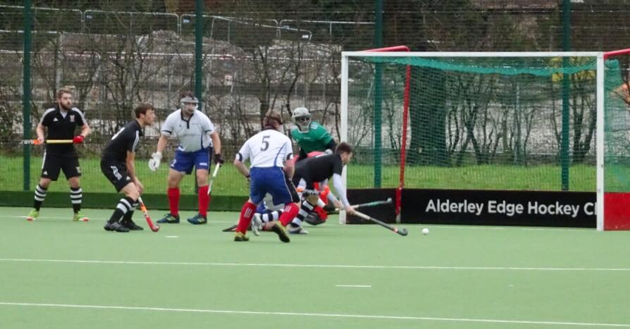 Alderley Edge Hockey Club men's team en route to victory against Timperley in the England Hockey Cup