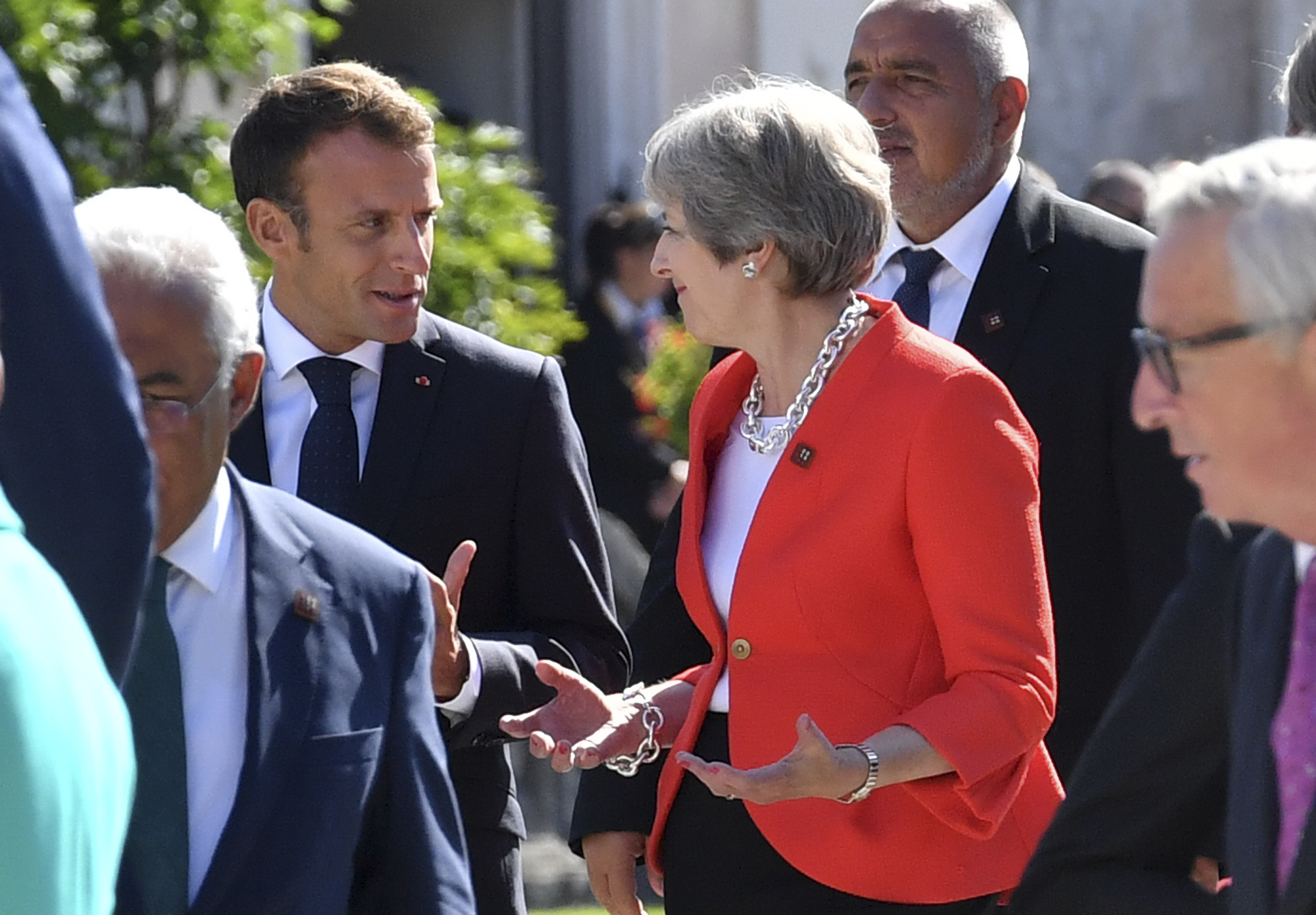 French president Emmanuel Macron was not won over by Theresa May's plan (AP Photo/Kerstin Joensson).